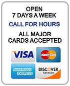 Wild Bill's is open 7 days a week - all major credit cards accepted