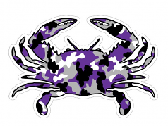 Purple Camo Crab Magnet Or Decal