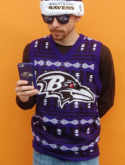 Men's Ravens Ugly Sweater Vest By Klew