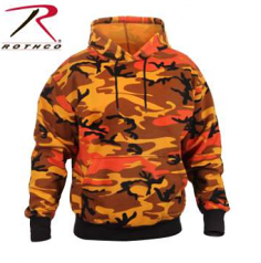 Rothco Savage Orange Colored Camo Hooded Pullover Sweatshirt