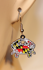 Maryland Flag Crab Earrings