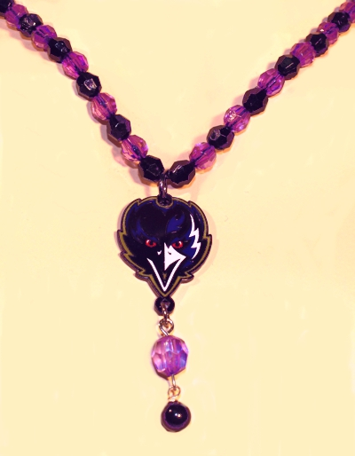 Ravens Purple and Black Beaded Necklace with Alternate Logo