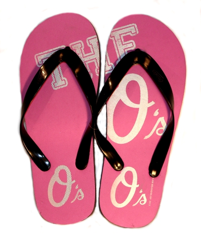 Orioles Pink Flip Flops With Silver Print