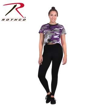 Ladies Ultra Violet Camo Crop T-Shirt