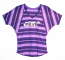 Concept Sports Ravens Purple Striped V-Neck Dolman Short Sleeve T-Shirt