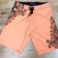 Tropical Print Orange Board Shorts
