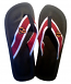 red white and orange orioles flip flops