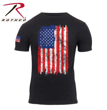 Rothco Red, White & Blue Distressed US Flag Athletic Fit T-shirt