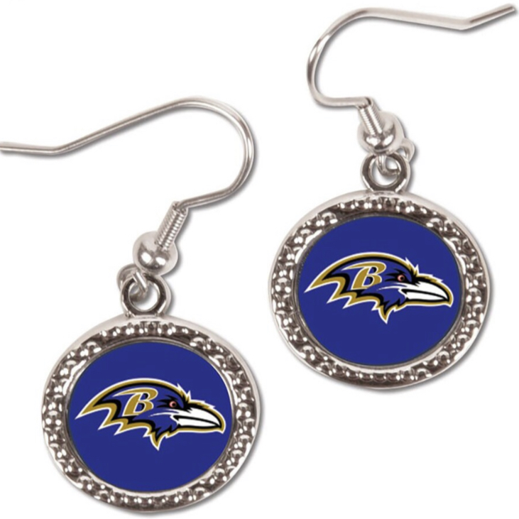 Baltimore Ravens Round Logo Earrings