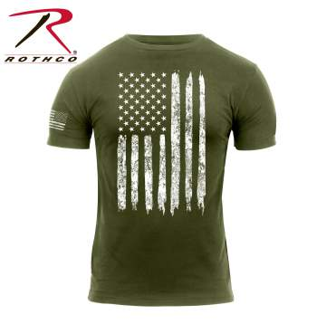 Rothco Distressed US Flag Olive Drab T-Shirt