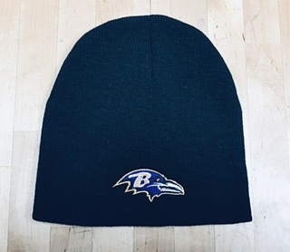 Baltimore Ravens Black Flat Knit Beanie