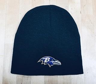Baltimore Ravens Black Flat Knit Beanie