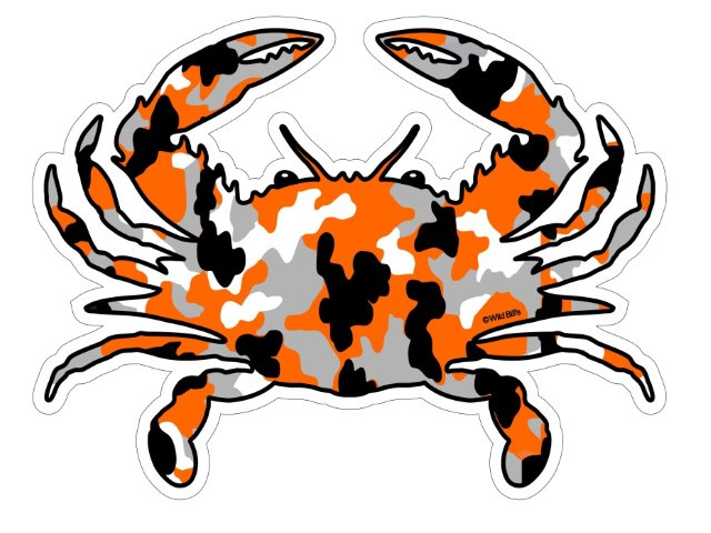 Orange Camo Crab Magnet Or Decal