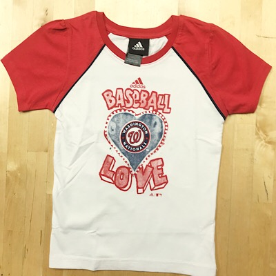 Washington Nationals Baseball Love Girls T-Shirt