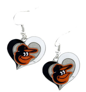 Baltimore Orioles Glitter Heart Earrings