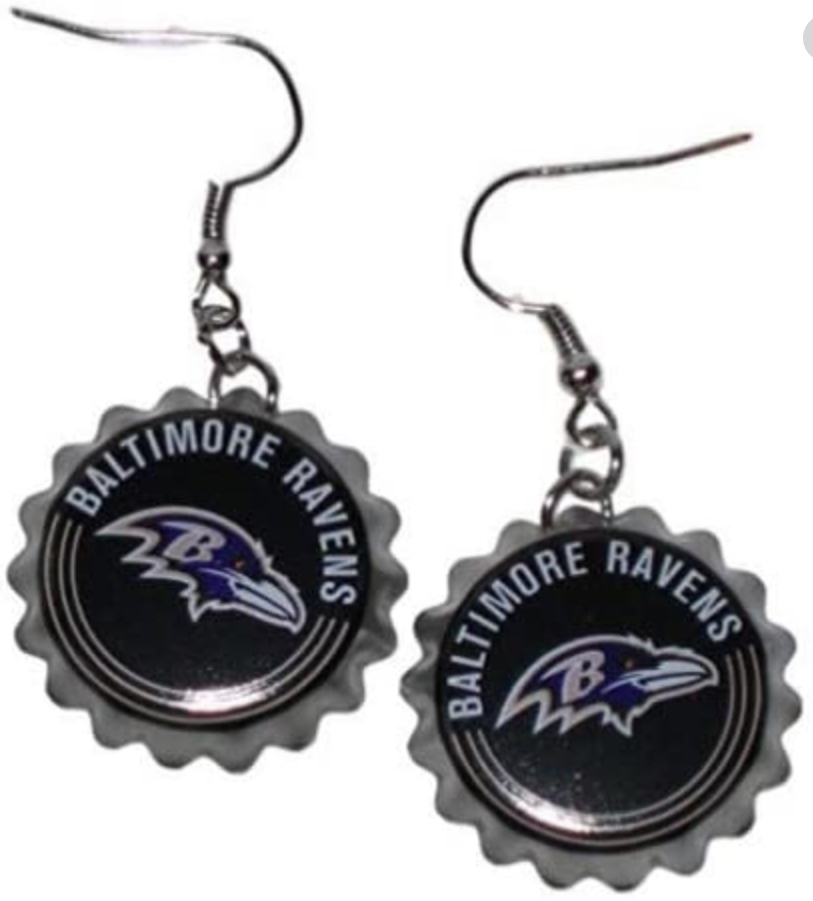 Baltimore Raven Bottle Cap Earrings