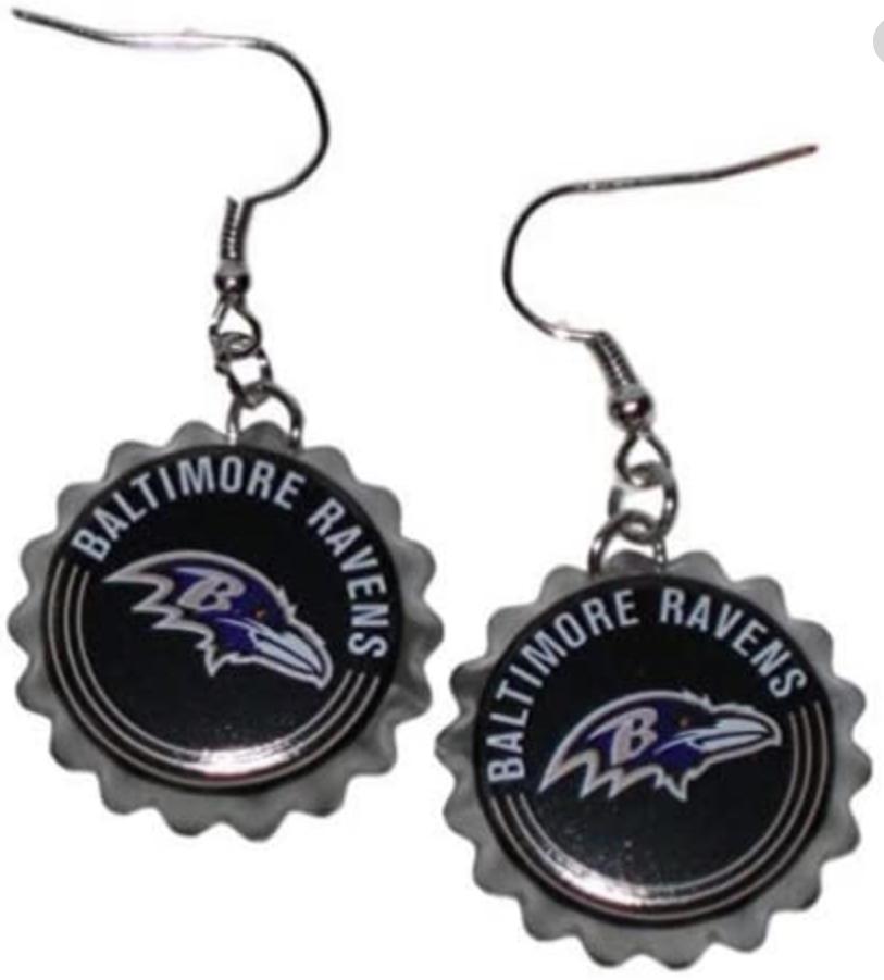 Baltimore Raven Bottle Cap Earrings