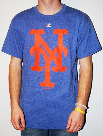 New York Mets Blue Heather Team Logo T-Shirt