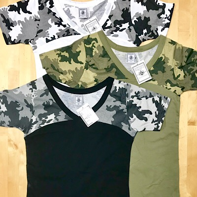 Ladies Color Camo V-Neck T-shirts