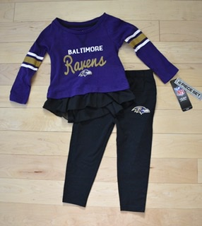 Baltimore Ravens Girls 2pc Shirt & Pant Set