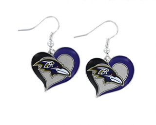 Baltimore Ravens Glitter Heart Earrings