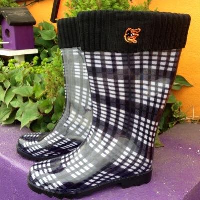 Orioles Black Plaid Rain Boots