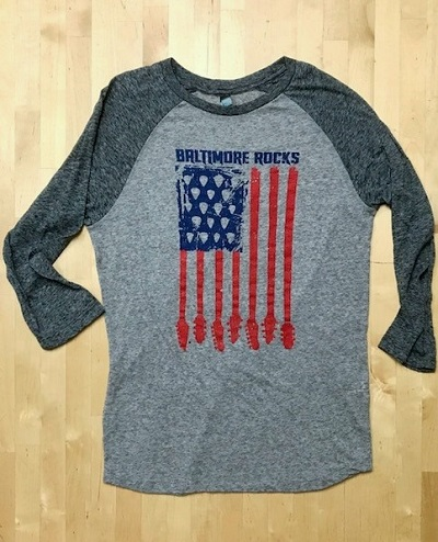 Baltimore Rocks Guitar Flag 3/4 Sleeved Shirt