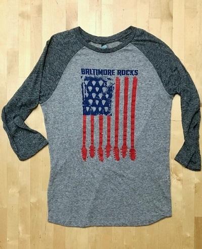 Baltimore Rocks Guitar Flag 3/4 Sleeved Shirt