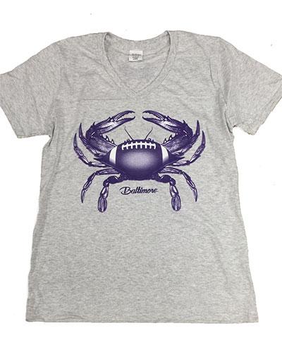 Baltimore Football Crab Ladies V-Neck T-Shirt