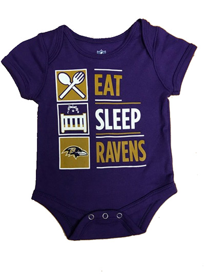 Eat, Sleep, Ravens Infant Onsie
