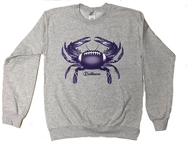 Baltimore Football Crab Crewneck Sweatshirt