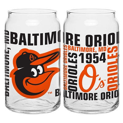 Baltimore Orioles Spirit Glass Can