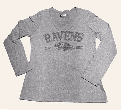 Baltimore Ravens Ladies Light Grey Heather Long Sleeve T-Shirt