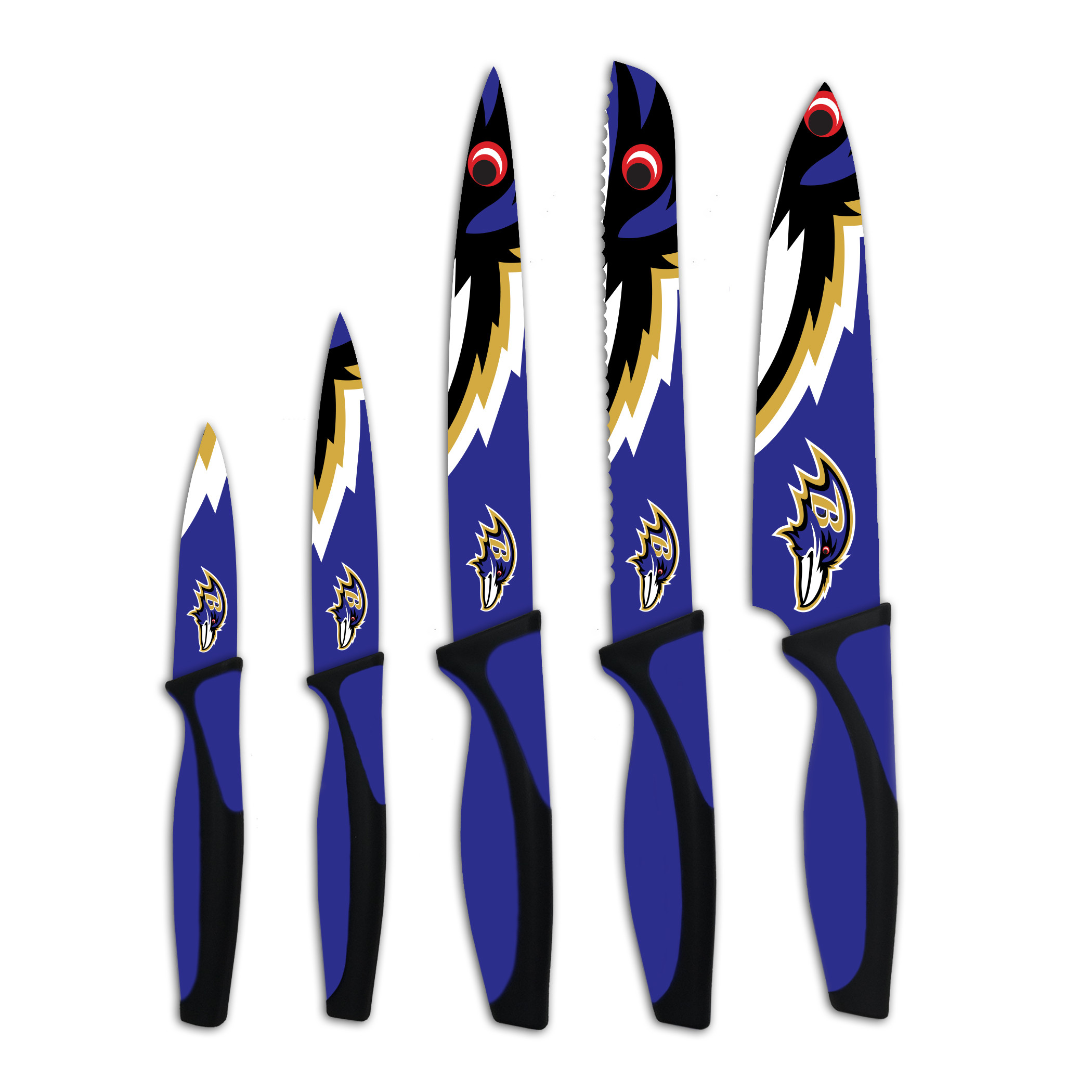 Baltimore Ravens 5 Piece Kitchen Knives Set