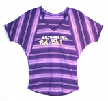 Concept Sports Ravens Purple Striped V-Neck Dolman Short Sleeve T-Shirt