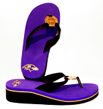 Ravens Purple Wedge Flip Flops