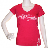 Ravens '47 Brand Pink V-Neck T-Shirt