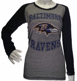 Women's Soft-Fit Long Sleeve Ravens Two-Tone Shirt